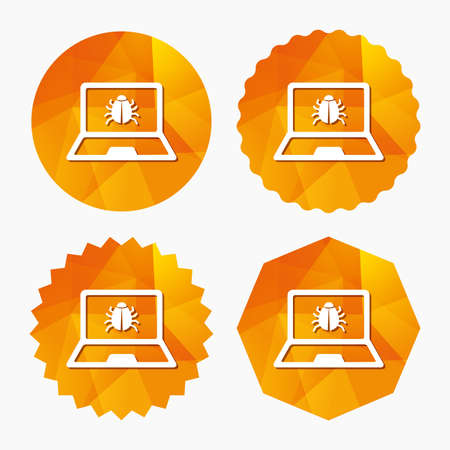 ultrabook: Laptop virus sign icon. Notebook software bug symbol. Triangular low poly buttons with flat icon. Vector