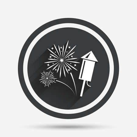 pyrotechnic: Fireworks with rocket sign icon. Explosive pyrotechnic symbol. Circle flat button with shadow and border. Vector