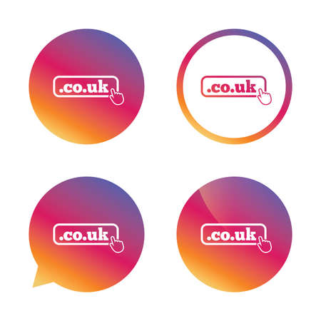 co: Domain CO.UK sign icon. UK internet subdomain symbol with hand pointer. Gradient buttons with flat icon. Speech bubble sign. Vector Illustration