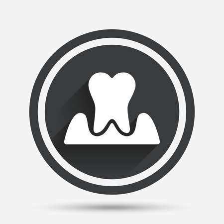 gingivitis: Parodontosis tooth icon. Gingivitis sign. Inflammation of gums symbol. Circle flat button with shadow and border. Vector Illustration