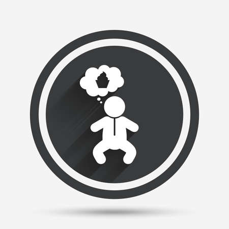 crawlers: Baby infant think about food sign icon. Toddler boy in pajamas or crawlers body symbol. Circle flat button with shadow and border. Vector Illustration