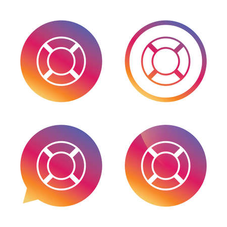 salvation: Lifebuoy sign icon. Life salvation symbol. Gradient buttons with flat icon. Speech bubble sign. Vector Illustration