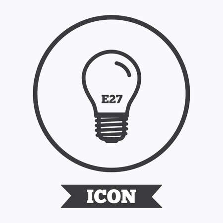 e27: Light bulb icon. Lamp E27 screw socket symbol. Led light sign. Graphic design element. Flat symbol in circle button. Vector