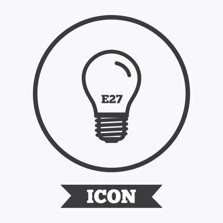 Symbol Glühbirne. Lampe E27 Sockel Symbol. Led Licht-Zeichen. Grafik ...