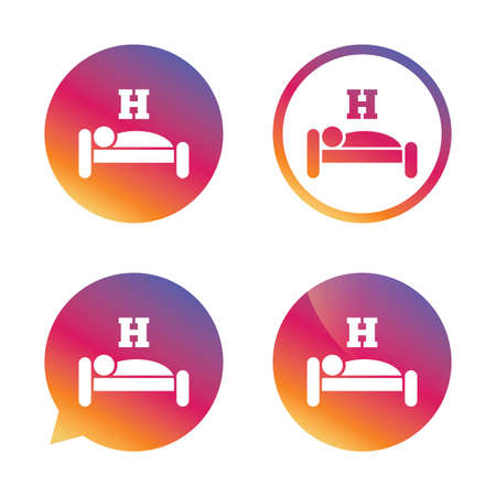 sleeper: Hotel apartment sign icon. Travel rest place. Sleeper symbol. Gradient buttons with flat icon. Speech bubble sign. Vector