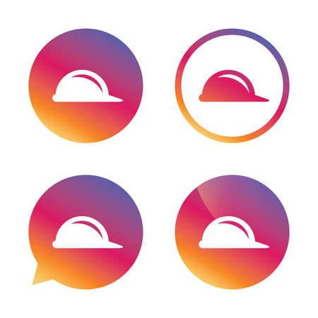 Hard hat sign icon. Construction helmet symbol. Gradient buttons with flat icon. Speech bubble sign. Vector