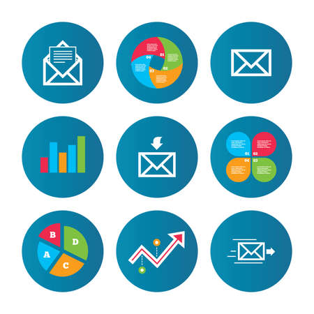 outbox: Business pie chart. Growth curve. Presentation buttons. Mail envelope icons. Message document delivery symbol. Post office letter signs. Inbox and outbox message icons. Data analysis. Vector
