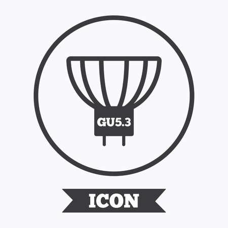 enchufe de luz: Light bulb icon. Lamp GU5.3 socket symbol. Led or halogen light sign. Graphic design element. Flat symbol in circle button. Vector