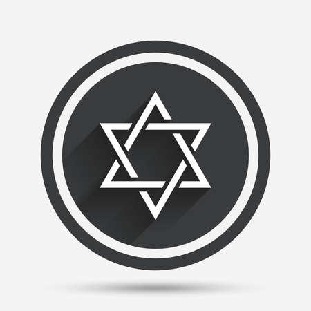 shield of david: Star of David sign icon. Symbol of Israel. Jewish hexagram symbol. Shield of David. Circle flat button with shadow and border. Vector