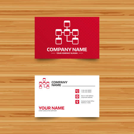 relational: Business card template. Database sign icon. Relational database schema symbol. Phone, globe and pointer icons. Visiting card design. Vector