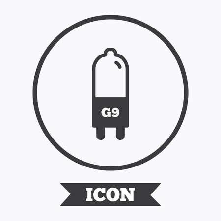 enchufe de luz: icono de la bombilla. G9 lámpara símbolo socket. Dirigido o señal de luz halógena. elemento de diseño gráfico. Piso en símbolo botón círculo. Vector