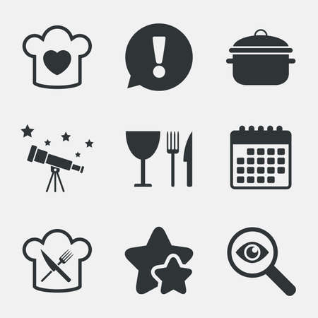 crosswise: Chief hat with heart and cooking pan icons. Crosswise fork and knife signs. Boil or stew food symbol. Attention, investigate and stars icons. Telescope and calendar signs. Vector