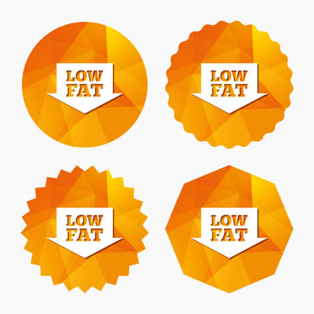 Low fat sign icon. Salt, sugar food symbol with arrow. Triangular low poly buttons with flat icon. Vector