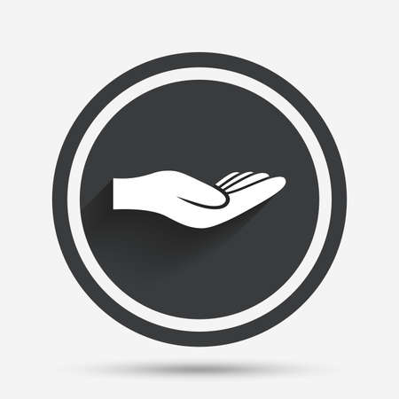 endowment: Donation hand sign icon. Charity or endowment symbol. Human helping hand palm. Circle flat button with shadow and border. Vector Illustration
