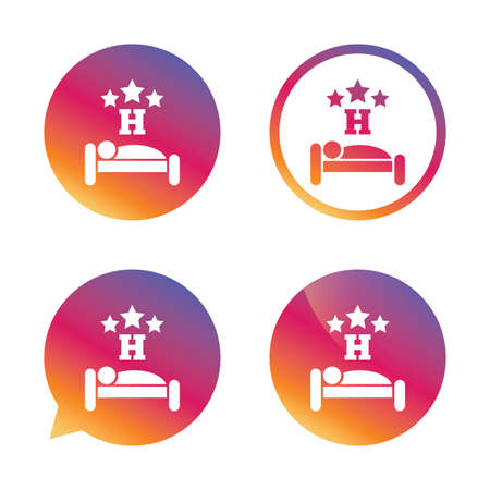 sleeper: Three star Hotel apartment sign icon. Travel rest place. Sleeper symbol. Gradient buttons with flat icon. Speech bubble sign. Vector