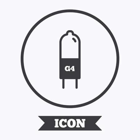 enchufe de luz: Light bulb icon. Lamp G4 socket symbol. Led or halogen light sign. Graphic design element. Flat symbol in circle button. Vector