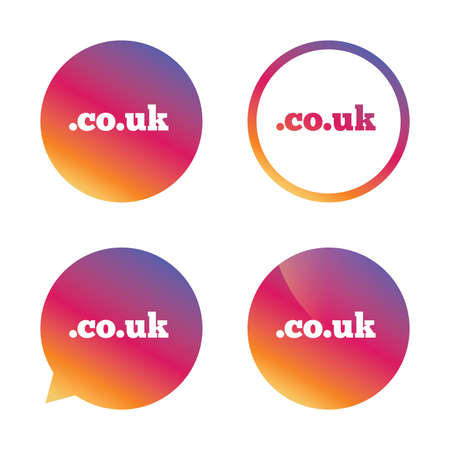 subdomain: Domain CO.UK sign icon. UK internet subdomain symbol. Gradient buttons with flat icon. Speech bubble sign. Vector