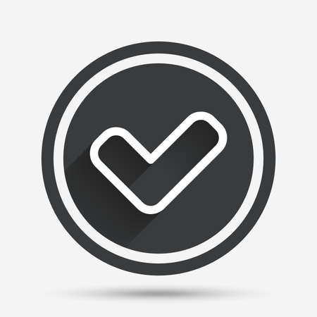 yes button: Check sign icon. Yes button. Circle flat button with shadow and border. Vector