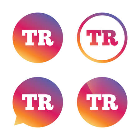 tr: Turkish language sign icon. TR Turkey translation symbol. Gradient buttons with flat icon. Speech bubble sign. Vector