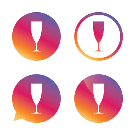 champagne celebration: Glass of champagne sign icon. Sparkling wine. Celebration or banquet alcohol drink symbol. Gradient buttons with flat icon. Speech bubble sign. Vector Illustration