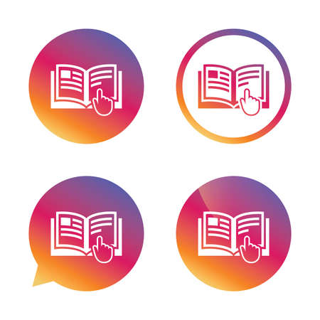 reading app: Instruction sign icon. Manual book symbol. Read before use. Gradient buttons with flat icon. Speech bubble sign. Vector