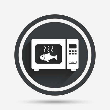 electric stove: Microwave oven sign icon. Grilled fish. Kitchen electric stove symbol. Circle flat button with shadow and border. Vector