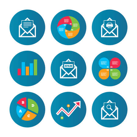 webmail: Business pie chart. Growth curve. Presentation buttons. Mail envelope icons. Print message document symbol. Post office letter signs. Spam mails and search message icons. Data analysis. Vector