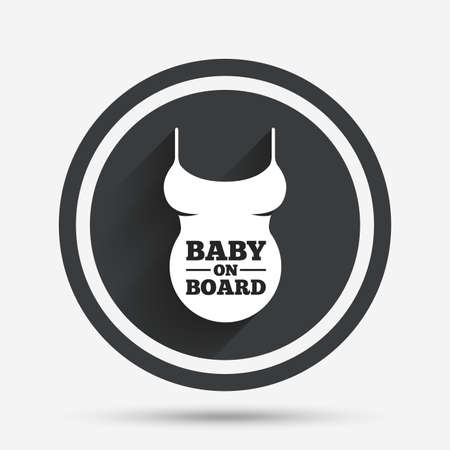 big breast: Pregnant woman shirt sign icon. Baby on board. Maternity symbol Circle flat button with shadow and border. Vector Illustration