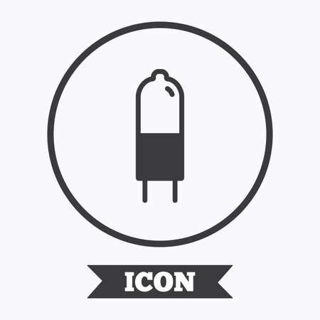 enchufe de luz: icono de la bombilla. G4 lámpara símbolo socket. Dirigido o señal de luz halógena. elemento de diseño gráfico. Piso en símbolo botón círculo. Vector Vectores