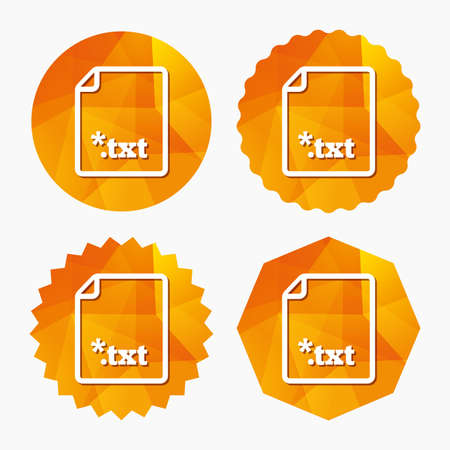 txt: Text file icon. Download txt doc button. Txt file extension symbol. Triangular low poly buttons with flat icon. Vector