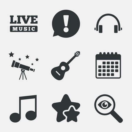 Musical Elements Icons Musical Note Key And Live Music Symbols