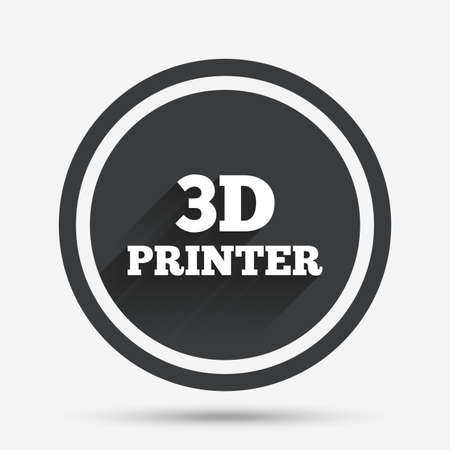 additive manufacturing: 3D Print sign icon. 3d Printing symbol. Additive manufacturing. Circle flat button with shadow and border. Vector Illustration
