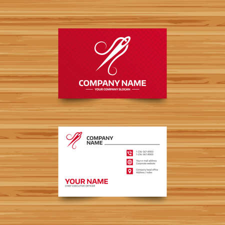 wood craft: Business card template. Needle with thread icon. Tailor symbol. Textile sew up craft sign. Embroidery tool. Phone, globe and pointer icons. Visiting card design. Vector