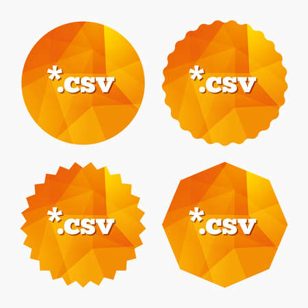 csv: File document icon. Download tabular data file button. CSV file extension symbol. Triangular low poly buttons with flat icon. Vector Illustration