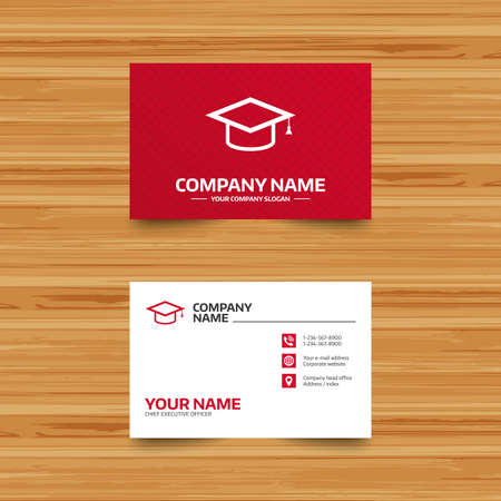 Business card template. Graduation cap sign icon. Higher education symbol. Phone, globe and pointer icons. Visiting card design. Vector