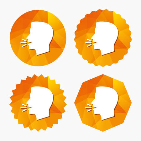 loud noise: Talk or speak icon. Loud noise symbol. Human talking sign. Triangular low poly buttons with flat icon. Vector