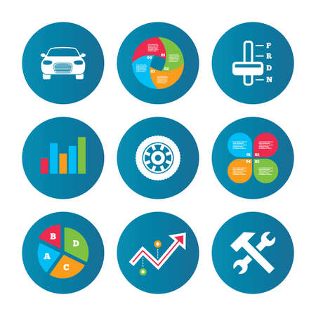 automatic transmission: Business pie chart. Growth curve. Presentation buttons. Transport icons. Car tachometer and automatic transmission symbols. Repair service tool with wheel sign. Data analysis. Vector Illustration