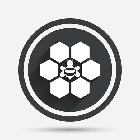 Honeycomb with bee sign icon. Honey cells symbol. Sweet natural food. Circle flat button with shadow and border. Vector