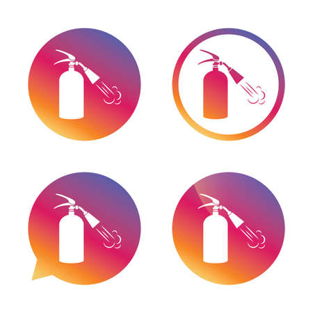 Fire extinguisher sign icon. Fire safety symbol. Gradient buttons with flat icon. Speech bubble sign. Vector Illustration