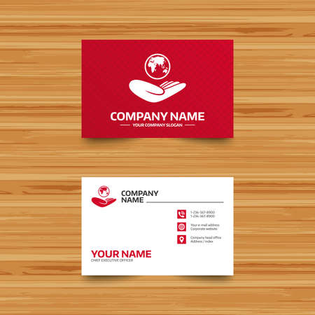 travel phone: Business card template. World insurance sign. Hand holds planet symbol. Travel insurance. World peace. Phone, globe and pointer icons. Visiting card design. Vector Illustration