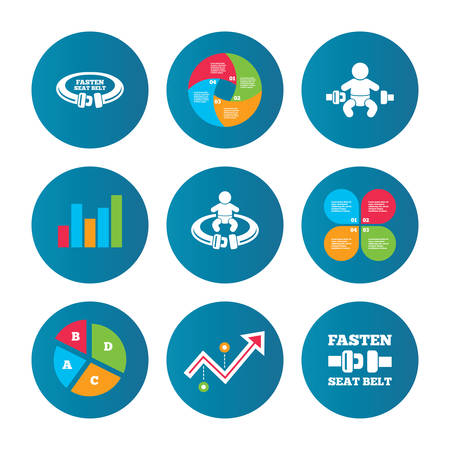safety belt: Business pie chart. Growth curve. Presentation buttons. Fasten seat belt icons. Child safety in accident symbols. Vehicle safety belt signs. Data analysis. Vector