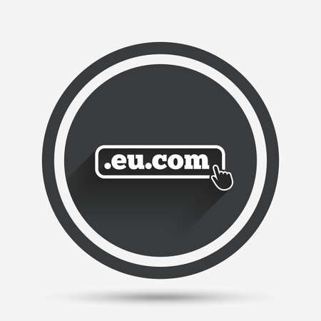 subdomain: Domain EU.COM sign icon. Internet subdomain symbol with hand pointer. Circle flat button with shadow and border. Vector
