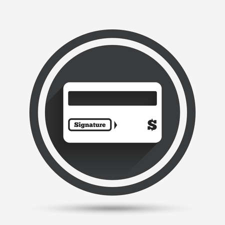 debit: Credit card sign icon. Debit card symbol. Virtual money. Circle flat button with shadow and border. Vector