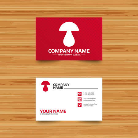 cep: Business card template. Mushroom sign icon. Boletus mushroom symbol. Phone, globe and pointer icons. Visiting card design. Vector