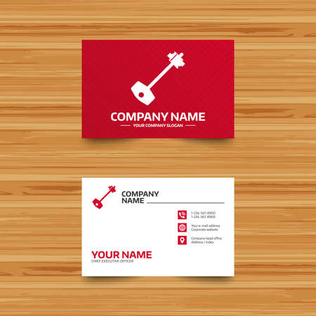 tool unlock: Business card template. Key sign icon. Unlock tool symbol. Phone, globe and pointer icons. Visiting card design. Vector