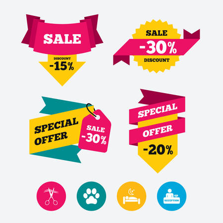 quiet room: Hotel services icons. With pets allowed in room signs. Hairdresser or barbershop symbol. Reception registration table. Quiet sleep. Web stickers, banners and labels. Sale discount tags. Vector Illustration