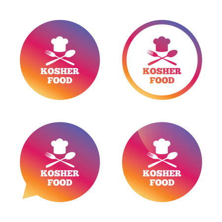 kosher: Kosher food product sign icon. Natural Jewish food with chef hat spoon and fork symbol. Gradient buttons with flat icon. Speech bubble sign. Vector Illustration