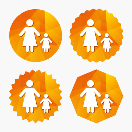 family with one child: One-parent family with one child sign icon. Mother with daughter symbol. Triangular low poly buttons with flat icon. Vector