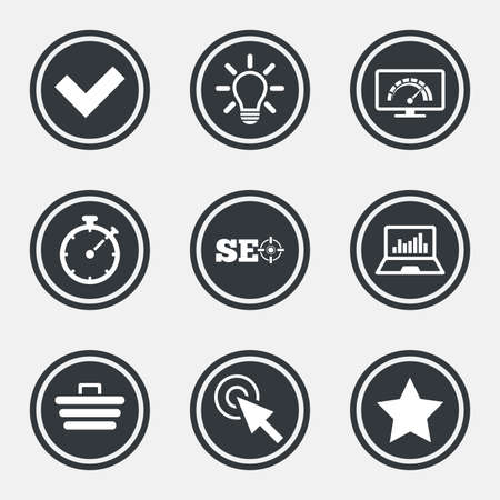 bandwidth: Internet, seo icons. Bandwidth speed, online shopping and tick signs. Favorite star, notebook chart symbols. Circle flat buttons with icons and border. Vector