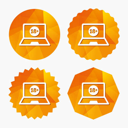 adults only: Adults content laptop sign icon. Website for adults only symbol. Warning. Triangular low poly buttons with flat icon. Vector